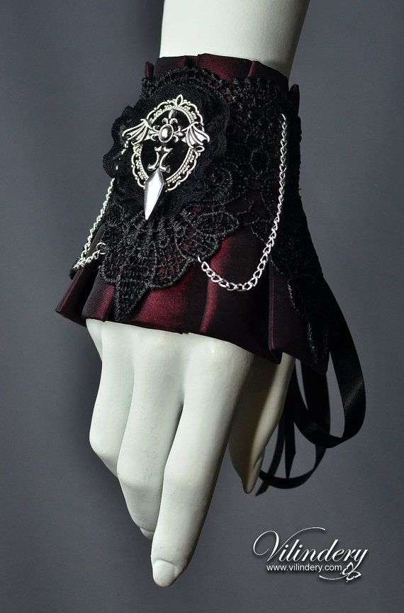 10% OFF SALE, Vampire Cuff Bracelet with bat wings, Gothic Victorian Style, Lolita Fashion, Goth Wedding Jewelry, Wine Red Accessories