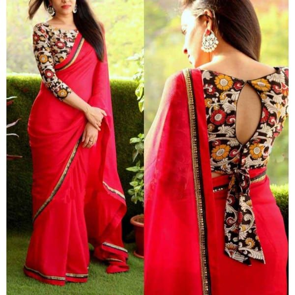 Aces aces Red Net Saree