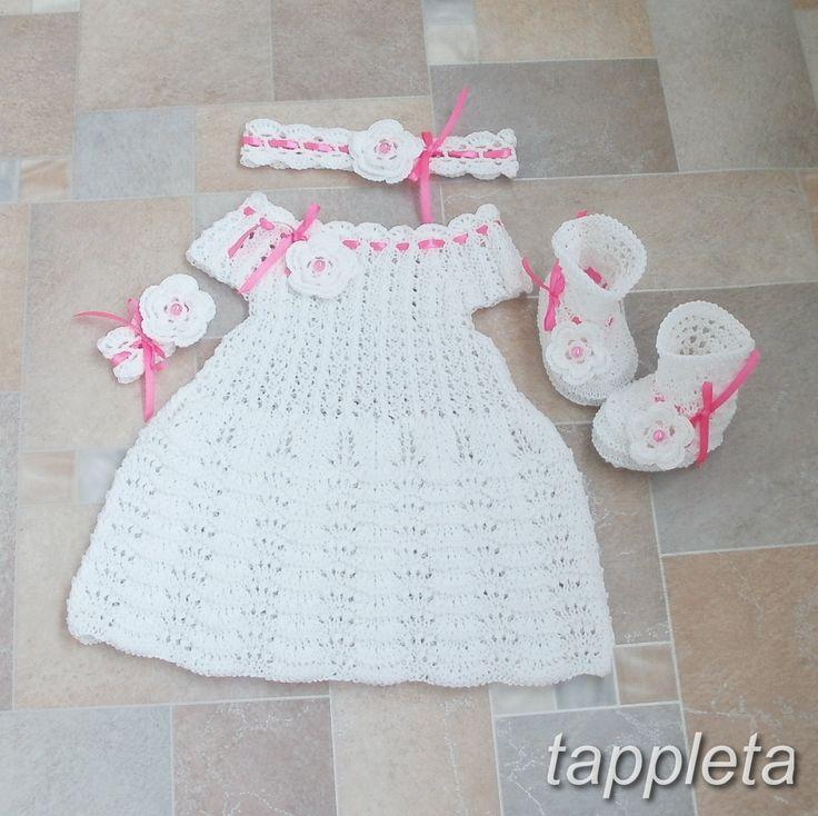 Платье, пинетки и повязка, для девочки 3-6 месяцев, наряд для крещения, вязанный, белый, розовая лента, цветок, подарок by tappleta on Etsy