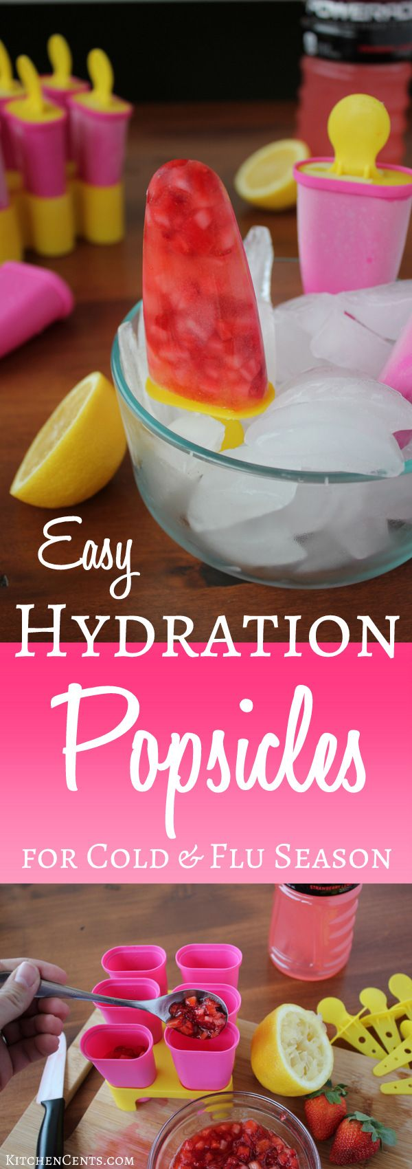 Easy Hydration Popsicles for Cold & Flu Season | KitchenCents.com Made with fresh fruit, raw honey, and topped off with hydrating liquid, these Hydration Popsicles are a great way to help your kids stay hydrated through the cold and flu season.