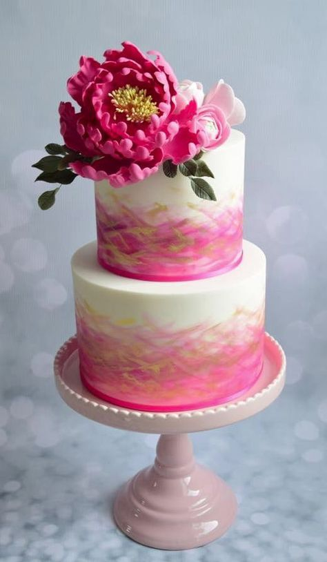 Chic two tier pink and gold detailed white wedding cake; Featured Cake: Baking Chick