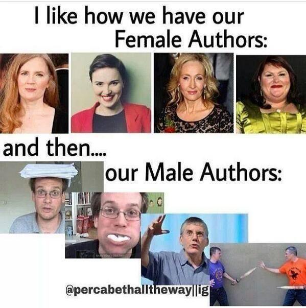 Susanne Collins, Veronica Roth, J.K. Rowling, Cassandra Clare, John Green, Rick Riordan