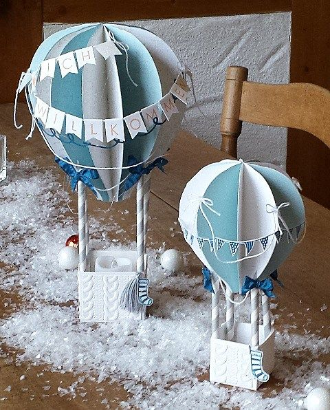 Hot air balloon decor using Stampin Up Lift me Up - Up and Away stamp & die bundle.  2017 occasions catalogue