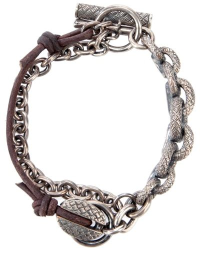 TOBIAS WISTISEN: Silver and leather chain bracelet