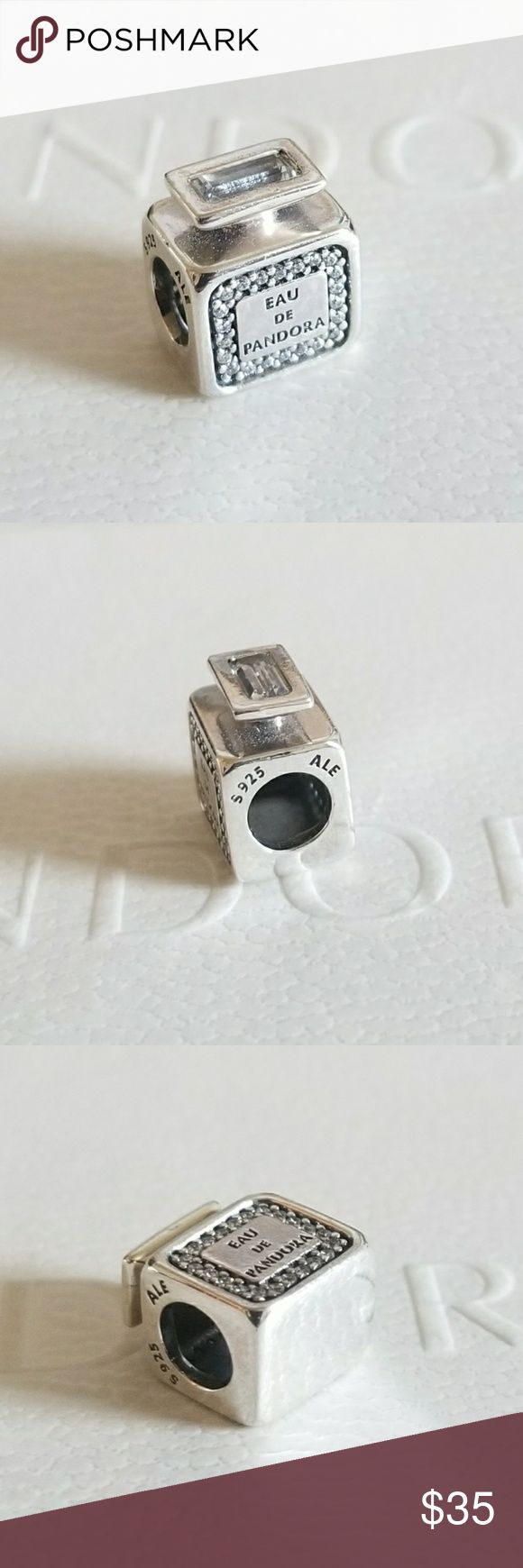 Pandora Signature Scent Eau de Perfume CZ Charm 100% Authentic Pandora  Good condition  Properly stamped  Pandora stores offer lifetime free cleaning No box included Fast shipping Pandora Jewelry Bracelets