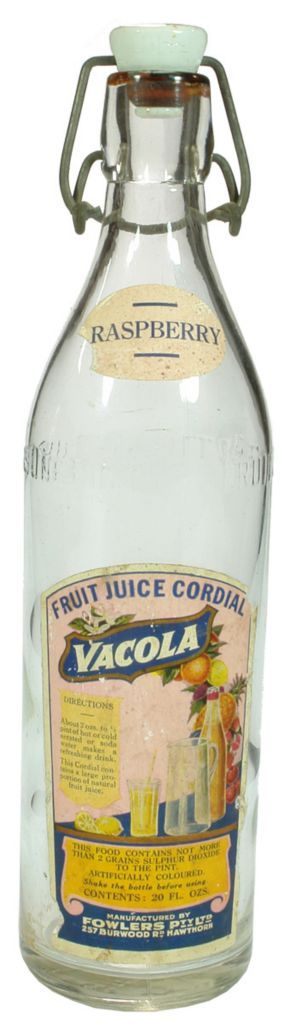 Fowlers Pty Ltd Vacola Raspberry Fruit Juice Cordial labels on plain Fowlers Vacola Lightning Stopper bottle. c1930s+