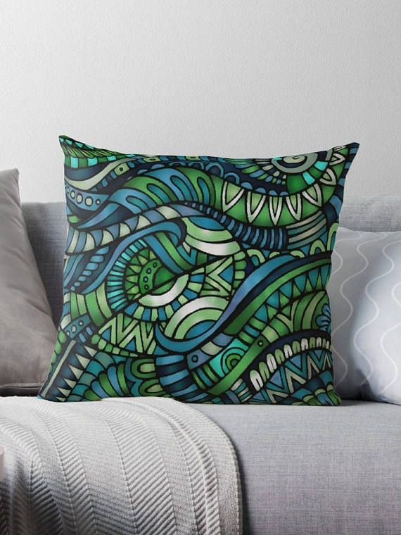 blue/green cover pillow / pillow design cushion 46 cm /