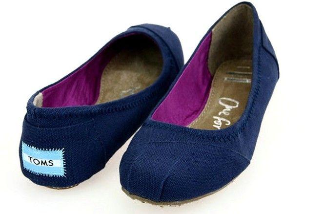 Toms Womens Dancing Flat Shoes Deep Blue