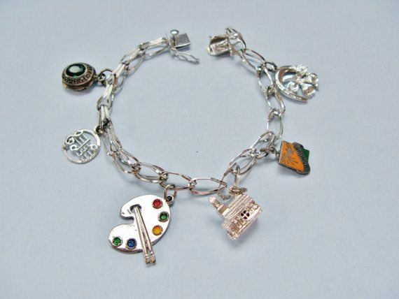 Vintage Wedding Sterling Silver Charm Bracelet