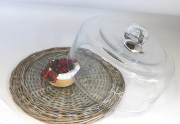 Rattan Cheese platter and glass cloche - Lifestyle Home and Living