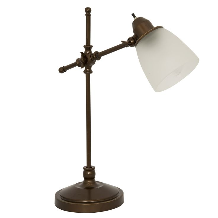 Home Design Zymeth Aluminum Table Lamp Part - 31: Home Design Antique Bronze Pivot Desk Lamp With Frosted White Glass Shade  Lightaccents