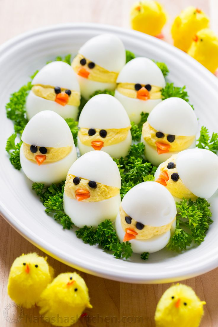 Easy and fun Easter Egg Recipe. A creative spin on traditional dressed eggs. Deviled egg chicks were the talk of my kitchen - the cutest Easter chicks!