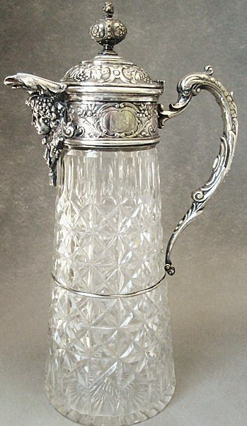 Antique Wilkens & Sohne Bremen 800 Silver & Cut Glass Claret Jug  c. 1890
