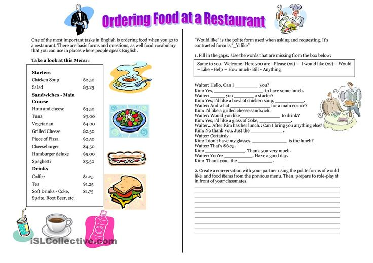 Ordering food at a restaurant - Ordering a meal