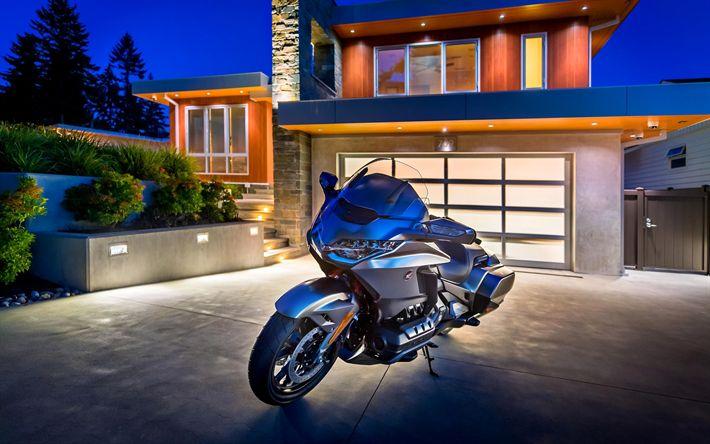 Download wallpapers 4k, Honda Gold Wing, superbikes, 2018 bikes, japanese motorcycles, Honda