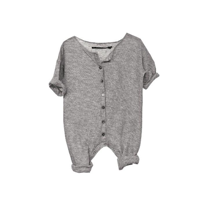 Album di famiglia telda baby knit button front romper