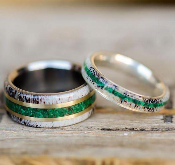 Men/Women's Wedding Ring Set: Natural Elk Antler and Green