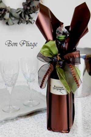 Opened label bottle wrapping by Wakana Nakao,Bon Pliage. http://bon-pliage.com/