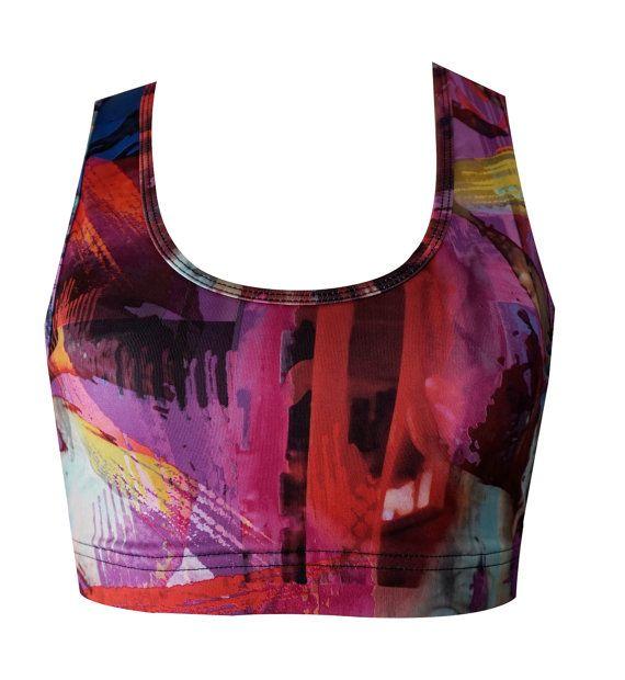 Splatter Print Clothing Pink Sports Bra Printed by NINABROZE