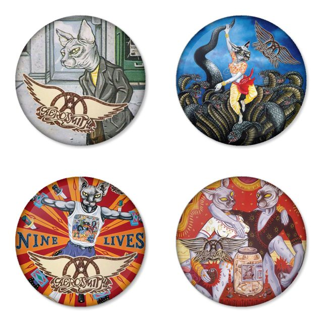AEROSMITH Rock Band logo Button Badge 1.75 inch Set. 4 pcs in package. You can choose back side of badge. we have Pinback ($7.49), Fridge Magnet ($8.49), Pocket Mirror ($8.49), Bottle opener Keychain ($9.99). The best Ideas Gift for men, Birthday, Party, Fashion, Concert. Member is Steven Tyler, Tom Hamilton, Joey Kramer, Joe Perry, Brad Whitford, Ray Tabano, Jimmy Crespo, Rick Dufay. Studio Album is aerosmith,rocks,pump,get a grip,nine lives,toys in the attic,permanent vacation,draw the…