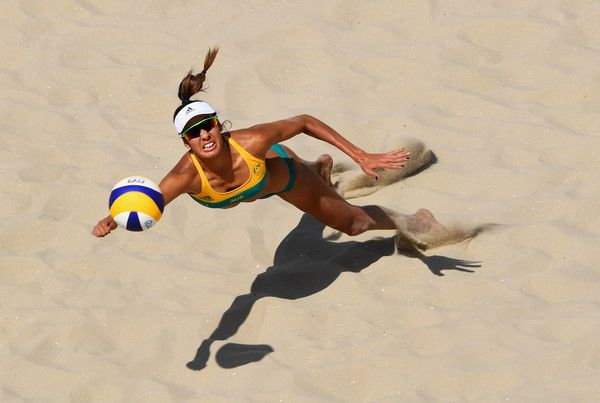 Taliqua Clancy of Australia dives for the ball during the Women's Beach Volleyball preliminary round Pool F match against Natalia Alfaro and Karen Cope Charles of Costa Rica on Day 1 of the Rio 2016 Olympic Games at the Beach Volleyball Arena on August 6, 2016 in Rio de Janeiro, Brazil. (Aug. 5, 2016 - Source: Quinn Rooney/Getty Images South America)