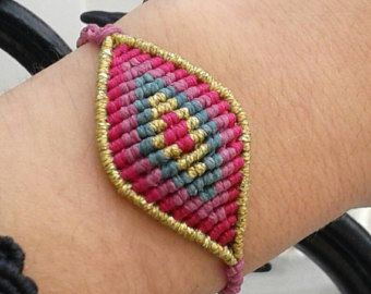 Macrame pulsera azul mariposa/hecho a mano por lulupica en Etsy
