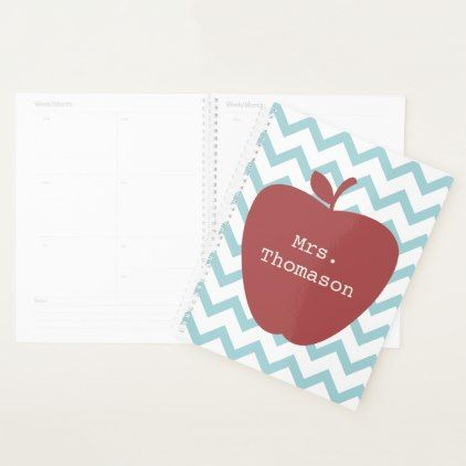 Red Apple Aqua Chevron Teacher Planner - pattern sample design template diy cyo customize