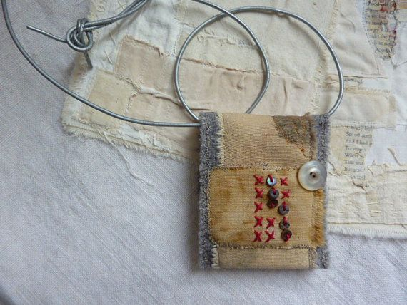 Memory mail - a treasure keeper fiber necklace    HGhandmade