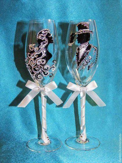Свадебные аксессуары ручной работы. Ярмарка Мастеров - ручная работа Свадебные бокалы «Love is forever». Handmade.