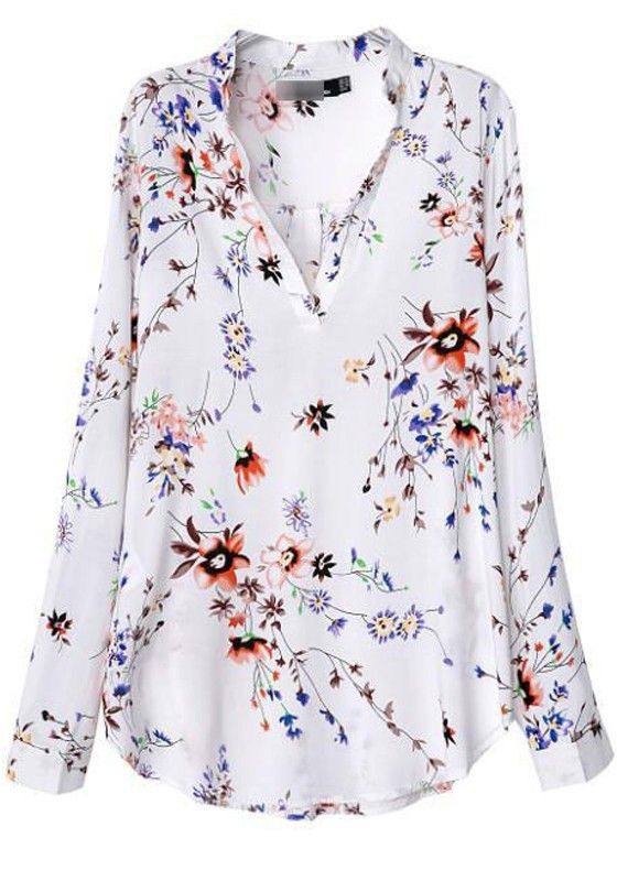 White Floral Print Longboard​ Sleeve Blouse