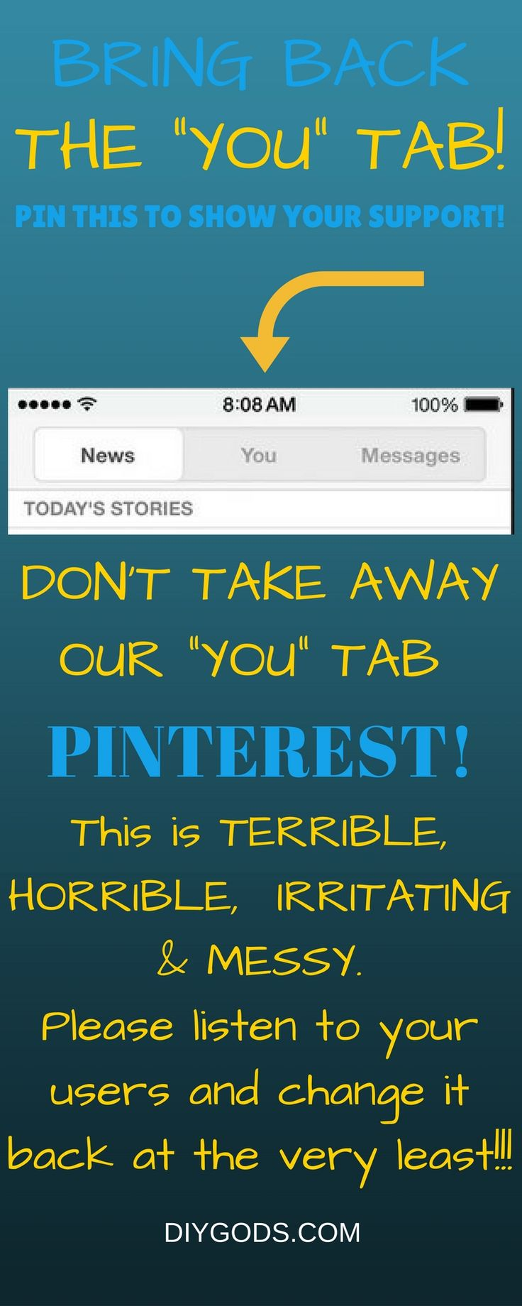 """Show your support if you would like the """"YOU tab back by Pinning this PIN. Please give us the """"YOU"""" tab back PINTEREST!"""