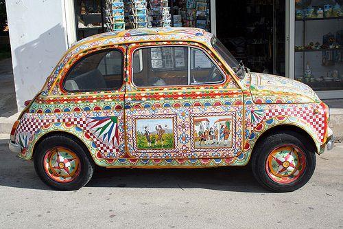 "Sicilian painted car! Muzungu Sisters www.muzungusisters.com    Boho FIAT 500: Painted like a ""carro siciliano"""