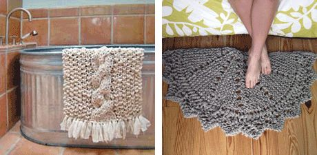 Rag Knitting How To's.  Plus patterns for this bath mat and scatter rug.
