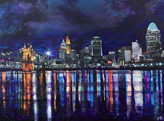 Painting of the Cincinnati Skyline   JefferyJ.com  Fine Art ...