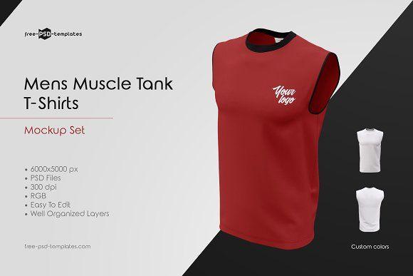 Download Mens Muscle Tank T Shirts Mockup Set