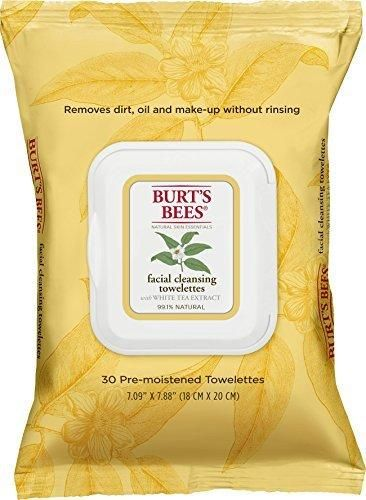 Burt's Bees Facial Cleansing Towelettes with White Tea Extract -- 30 Towelettes