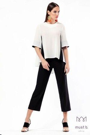 Μπλούζα πίετες πλάτη Fashion Woman Top Black & White #mustb #fashion collection spring summer 2015