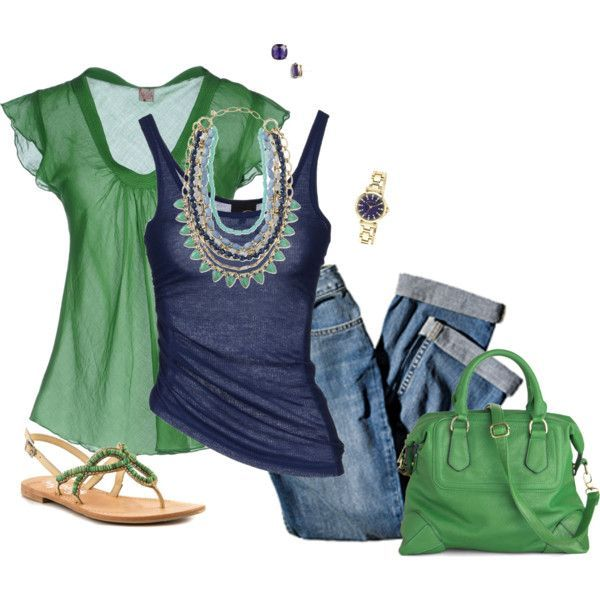 I would never have thought to put these colors together, but I love all these pieces & they look great together. The green would look great with my red hair.