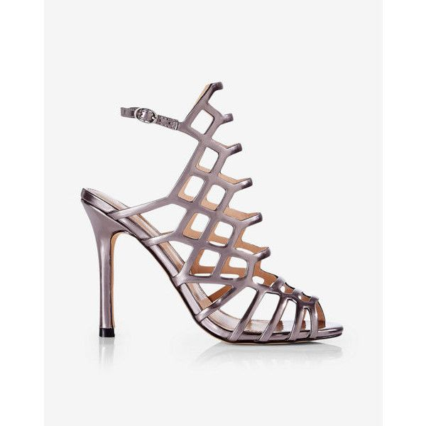 Express Metallic Caged Heeled Sandal ($70) ❤ liked on Polyvore featuring shoes, sandals, grey, caged heel sandals, metallic high heel sandals, grey sandals, metallic sandals and open toe sandals