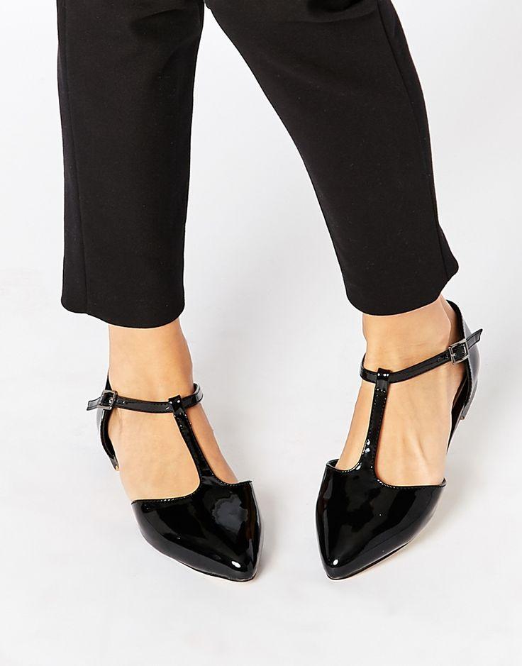Image 1 ofWarehouse Patent T Bar Flat Shoes