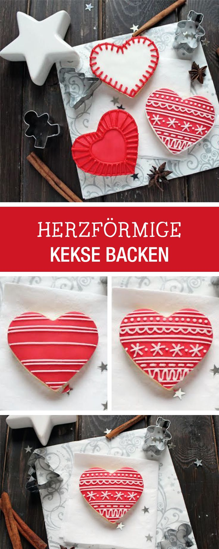 Kekse in Herzform backen und verzieren, weihnachtliche Rezepte / heart shaped cookies with christmas decor via DaWanda.com