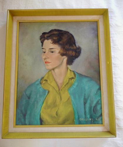 Mid Century Modern 60's Lady Portrait Oil Painting