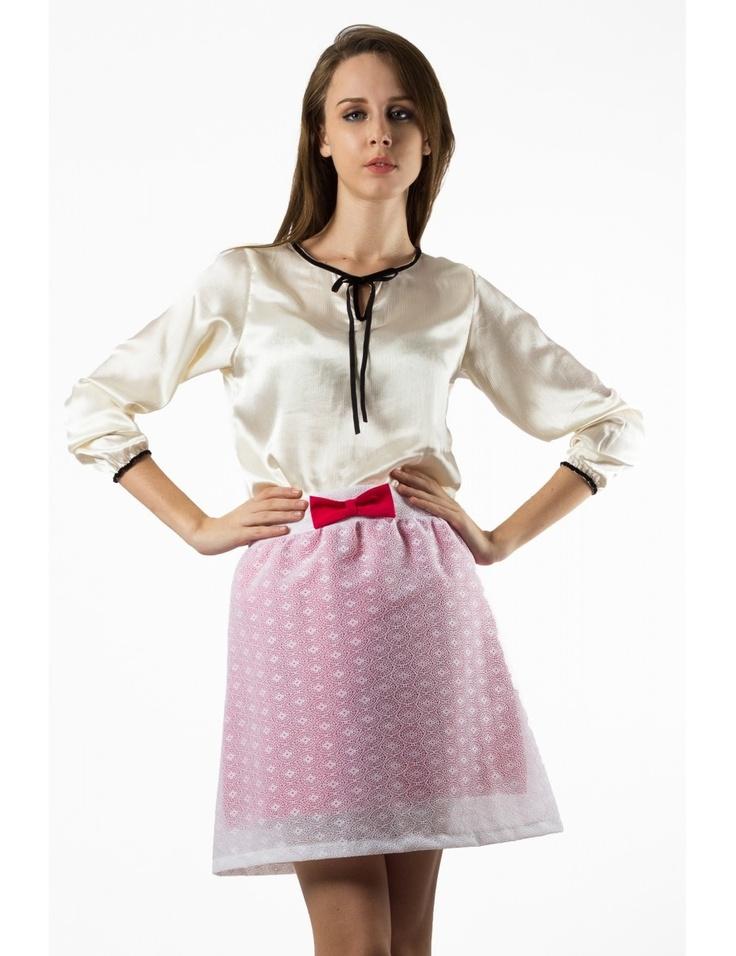 Zega Store - Fusta Zega Limited Edition, culoare alb cu roz - Femei, Fuste