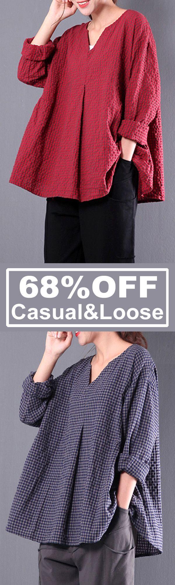 Casual&Loose, Vintage Blouses, Retro Women Plaid Long Sleeve.