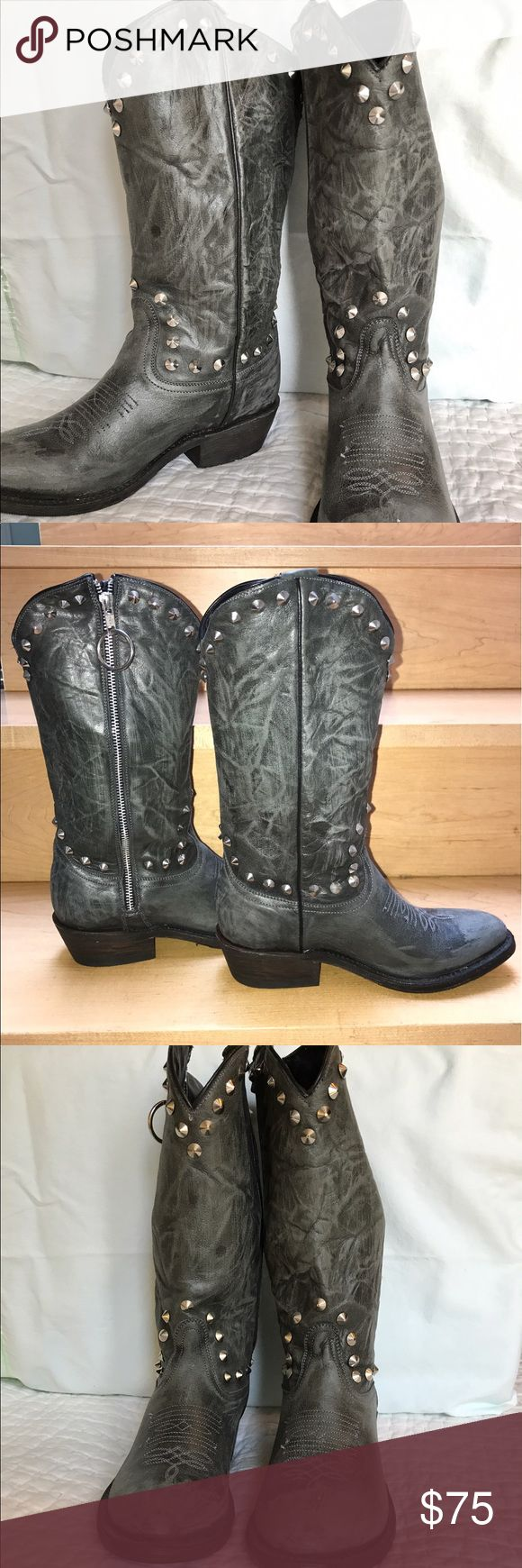 ASH Italia grey studded Cowboy boot Grey cowboy boot, with studs and lightly distressed. Leather. Vibram sole. New never worn. No box:( high quality Italian boot Ash Shoes Heeled Boots