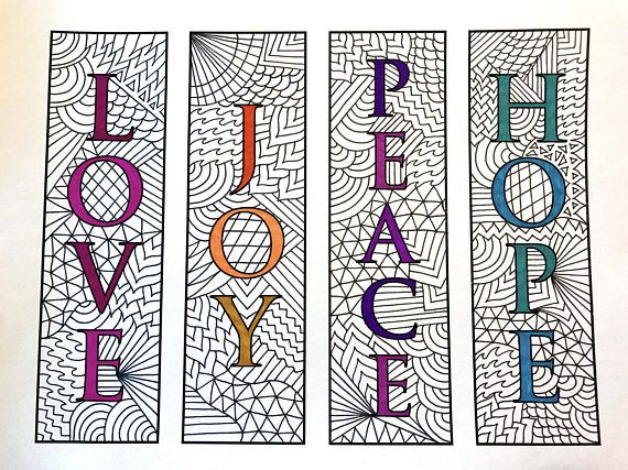 Love Joy Peace Hope Bookmarks Pdf Zentangle Coloring Page
