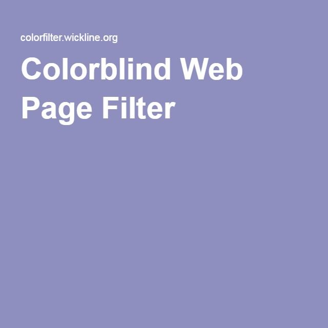 Colorblind Web Page Filter