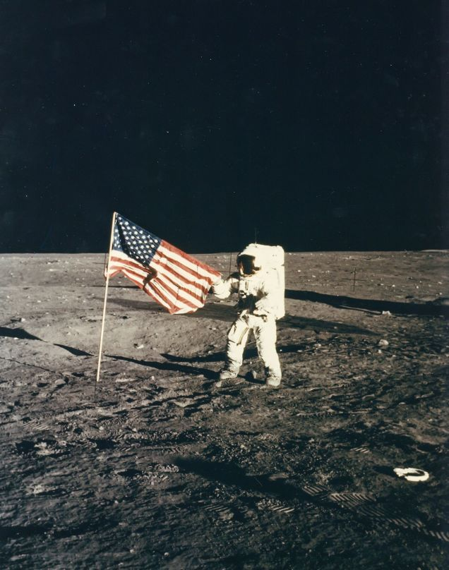 Pete Conrad and the American flag on the Ocean of Storms, Apollo 12, November 1972