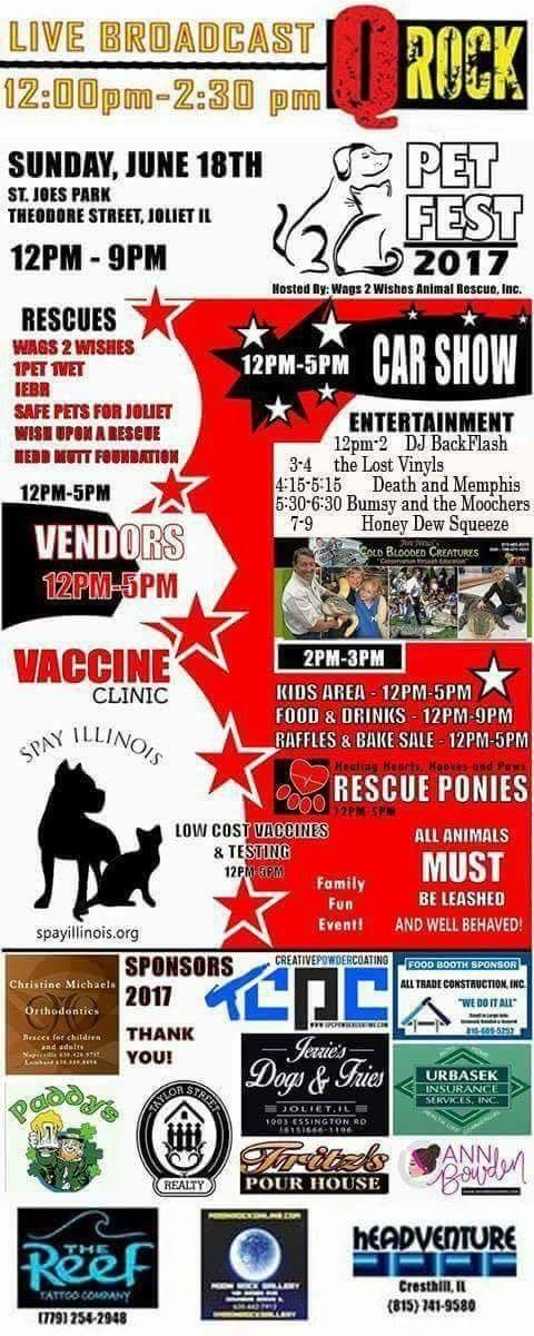 Join #Wags2Wishes on Sunday for a huge event!  #rescue #bands #Joliet #Plainfield #IL Check out  www.w2wrescue.com