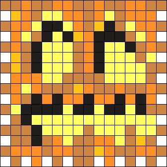 Minecraft Jack O Lantern Front  Perler Bead Pattern / Bead Sprite